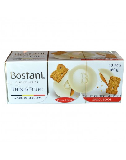Bostani chocolate thins  filled White chocolate with Speculoos 60g