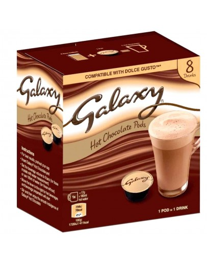 Galaxy 8 Hot Chocolate Pods. Dolce Gusto Compatible 136g